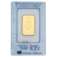 0.5 Ounce PAMP Suisse Gold Bar 999.9 Purity