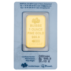 1 Ounce PAMP Suisse Gold Bar 999.9 Purity