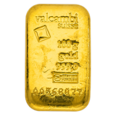 100 Gm minted Valcambi Gold bar 999.9 Purity