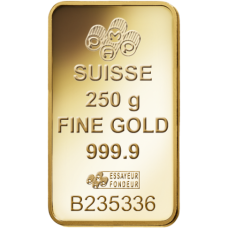 250 Gm Minted Suisse Gold bar 999.9 Purity