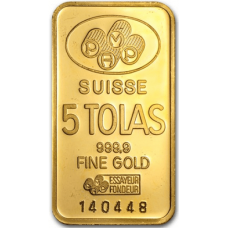 5 Tola PAMP Suisse Gold bar 999.9 Purity