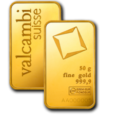 50 Gm Minted Valcambi Gold bar 999.9 Purity