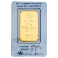 50 Gm PAMP Suisse Gold bar 999.9 Purity