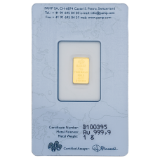 1 Gm PAMP Suisse Gold Bar 999.9 Purity
